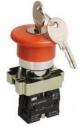 Кнопка LAY5-BS142 Грибок с ключом красный 22мм неон/240В1р